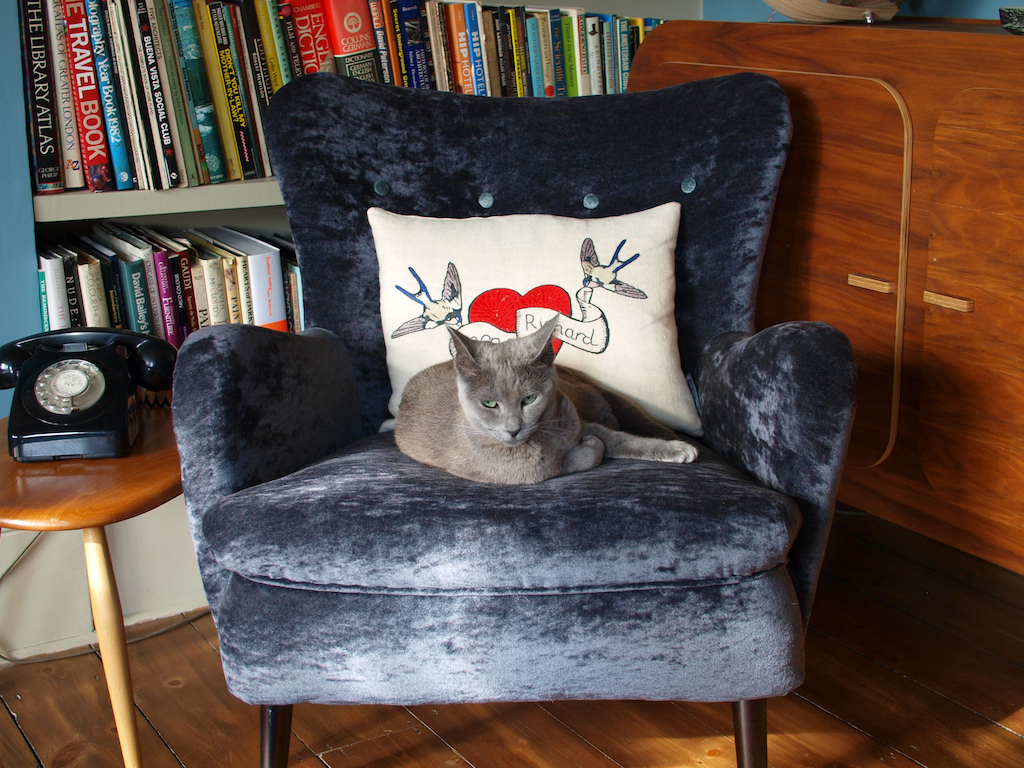 Blackheath Library Ivana on Ernest Race DA2 Armchair with Fine Cell Work Cushion
