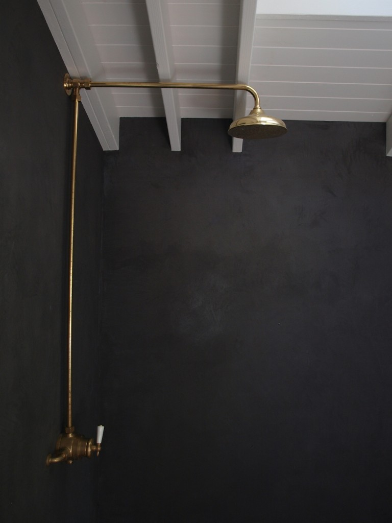 Brass Barber Wilson shower in Killinure Cottage grey waterproof plaster