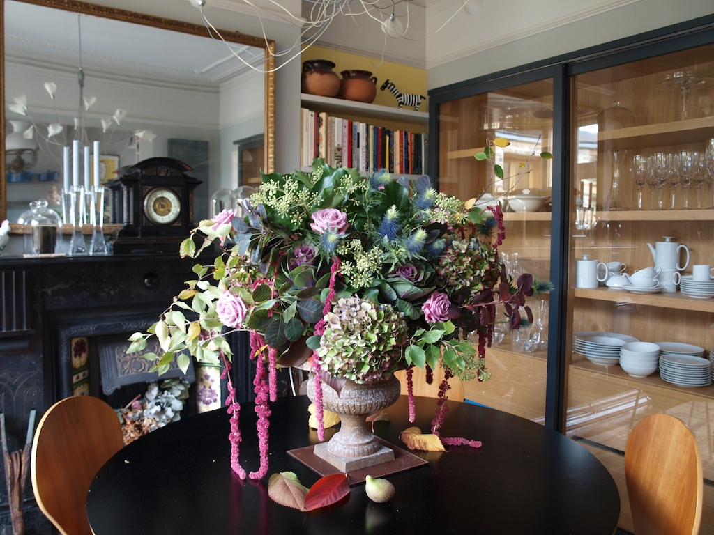 Autumn flowers Bouquet Lilac Rose Hydrangea Amaranthus Cotinus Birch Ivy Cherry urn fall bouquet fig Egon Walesch Interior Design Flowers