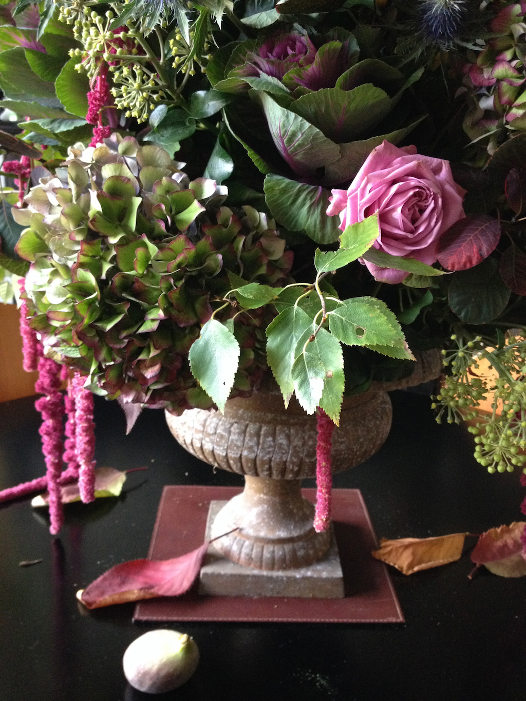 Autumn Flowers Bouquet Lilac Rose Hydrangea Amaranthus Cotinus Birch Ivy  Cherry Urn Fall Bouquet Fig Egon