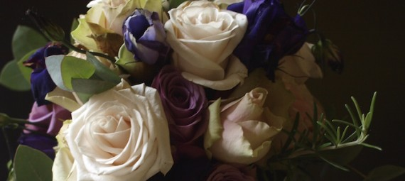 Wedding bouquet rose lisianthus rosemary eucalyptus