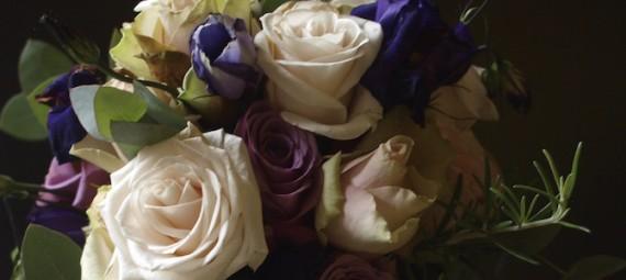 Wedding bouquet rose lisianthus rosemary eucalyptus