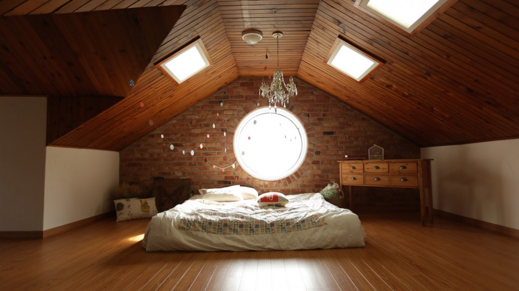 Right Surveyors Kids Room Picture Wooden Ceiling Round Window Attic Bedroom Glamorous Egon Walesch Interior Design